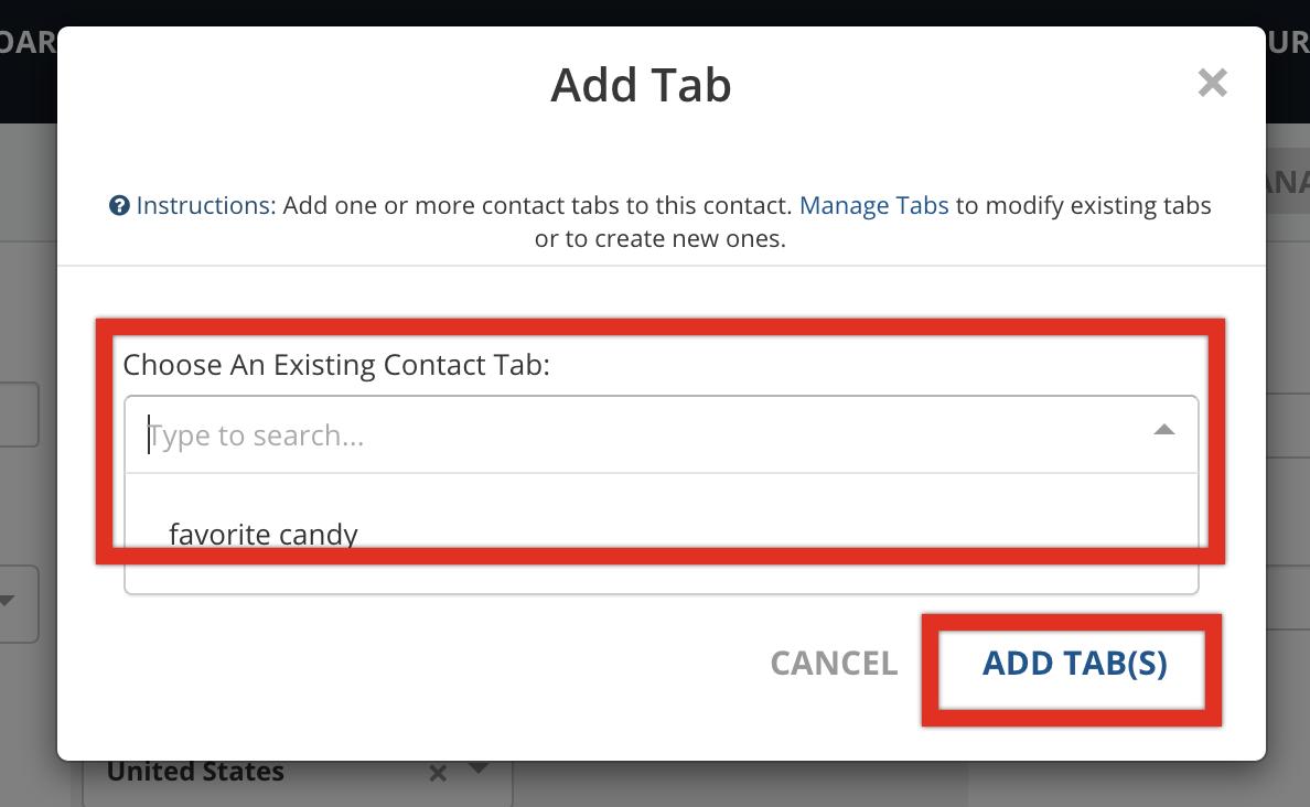 Add Tab choose contact tab