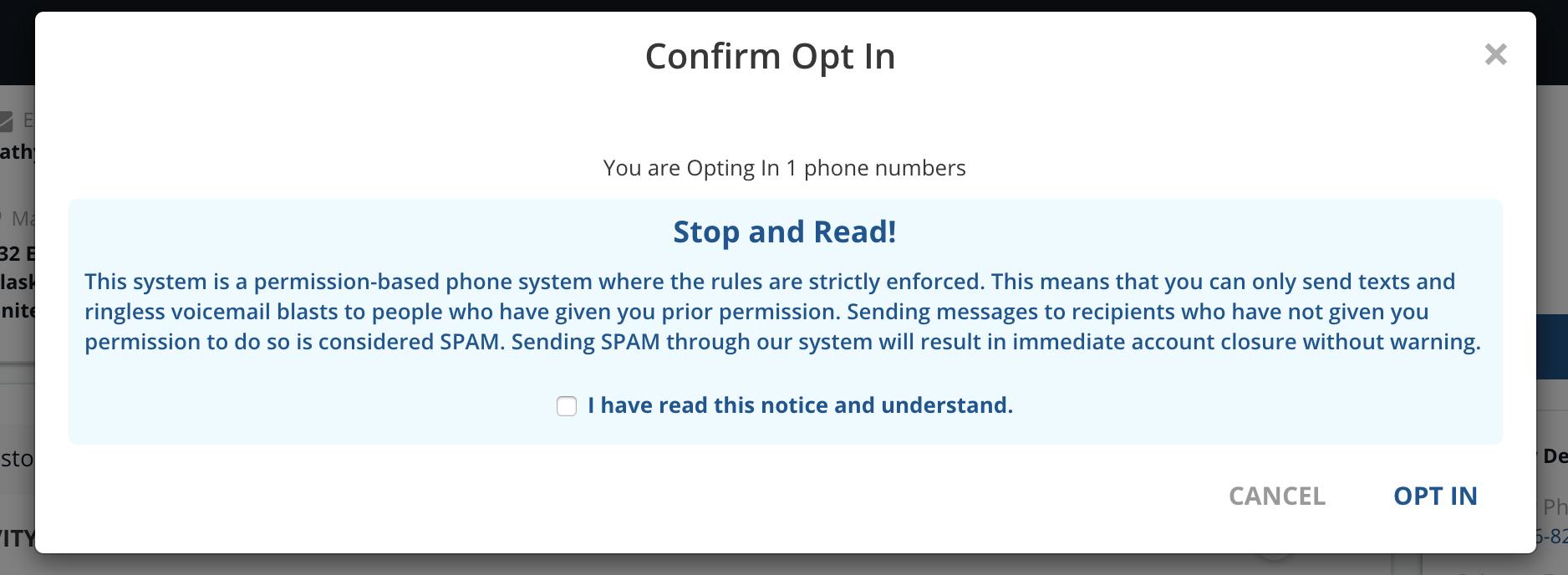 Confirm Optin