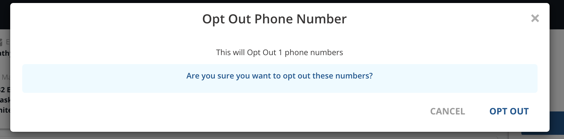 Opt out phone number